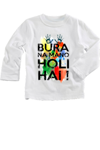 Cute Baby Graphic Printed Full Sleeve Holi My First Holi T-Shirt